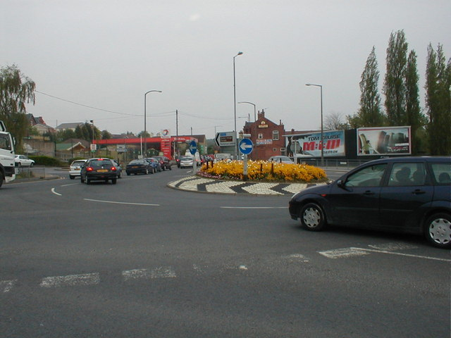 Castle Parade roundabout at Glass Houghton