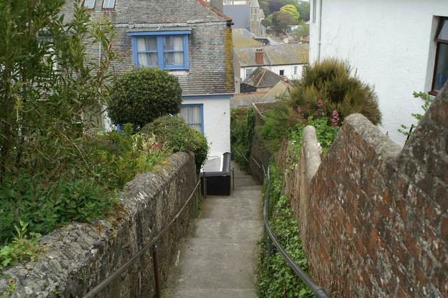 The steps down into St. Ives from the coach park