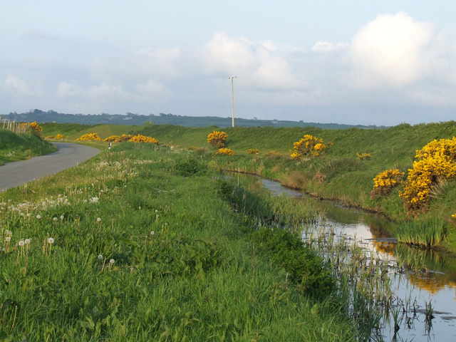 Road and drainage ditch alongside the Cefni river