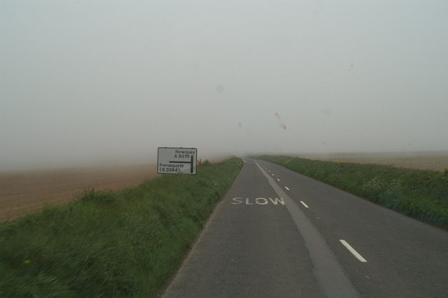 The Perranporth turning off the A3075
