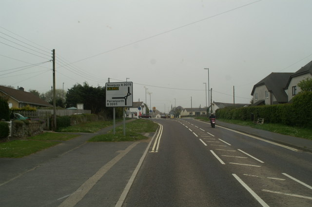 The B3285 crossing of the A3075 at Goonhavern