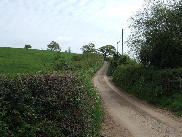 Road climbing eastwards from stream crossing