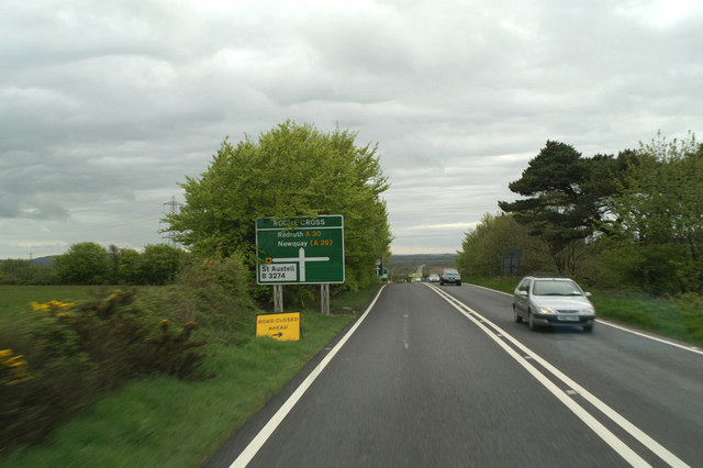 The B3274 turning to St. Austell on Tregoss Moor