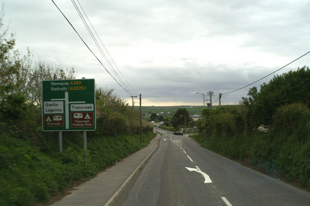 On the A392, on the edge of Newquay