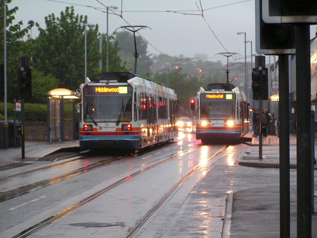 Trams passing on Infirmary Road
