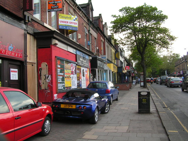 Shops on Ecclesall Road with interesting parking!