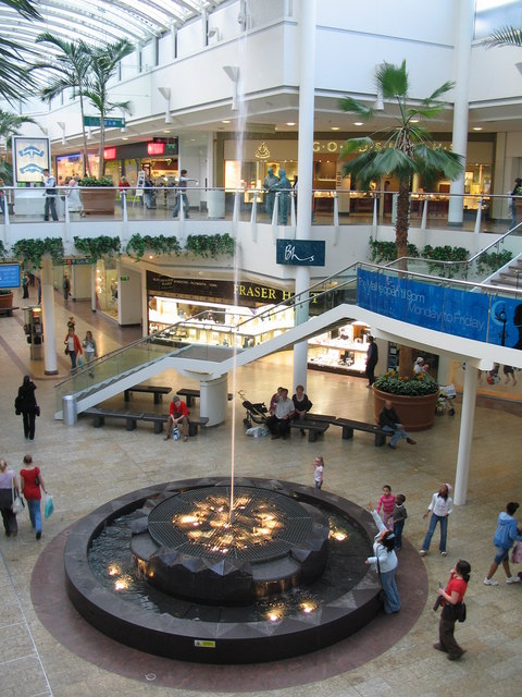 Water feature at the Mall