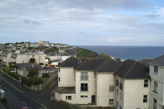 The view west from the Fistral Bay Hotel