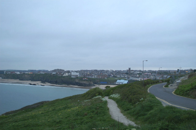 Newquay Bay and town from above Pigeon Cove