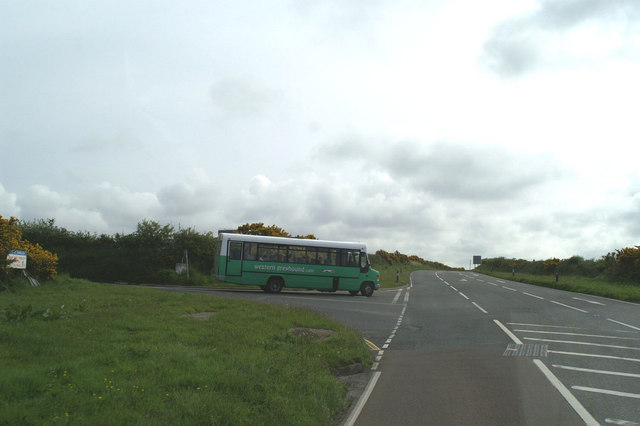 The road from St Mawgan airfield to the A3059