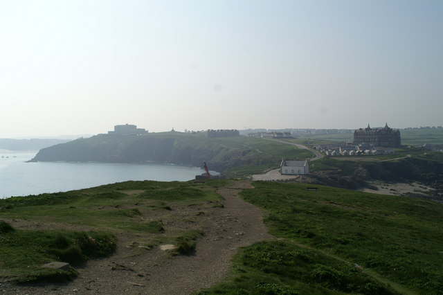 The view S-SW towards Newquay from Towan Head