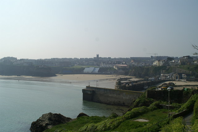 Outside view of Newquay harbour at low tide
