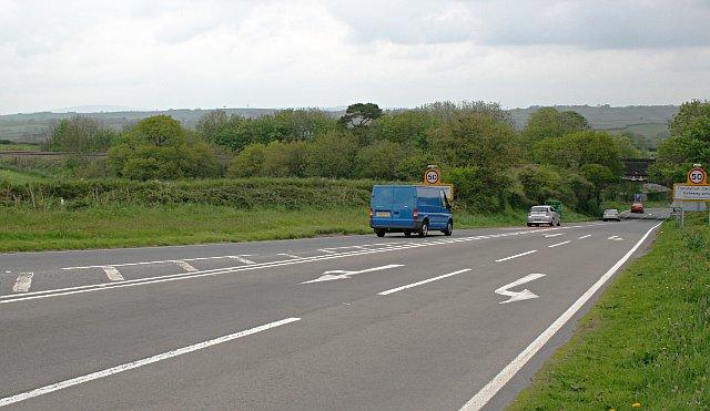 The A38 near Trerulefoot