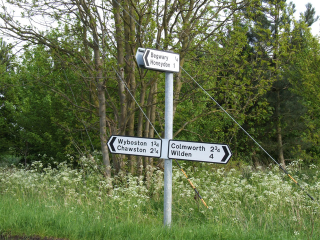 Signpost in the Bedfordshire countryside.