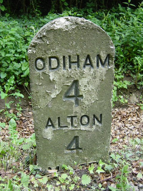 Milestone at Blounce, midway between Alton and Odiham