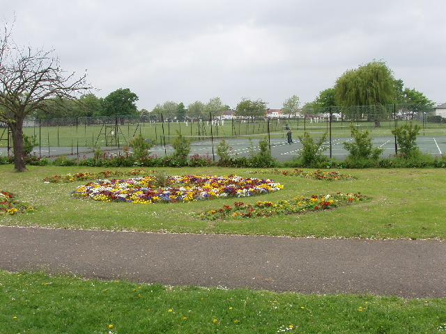 Tennis courts and flower bed, North Acton playing field