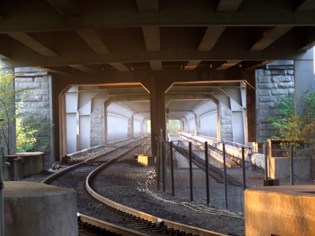 The railway line on the Britannia Bridge