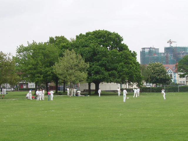 Before the cricket match, North Acton Recreation Ground
