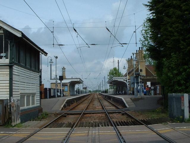 Railway line heading north towards King's Lynn, Norfolk.