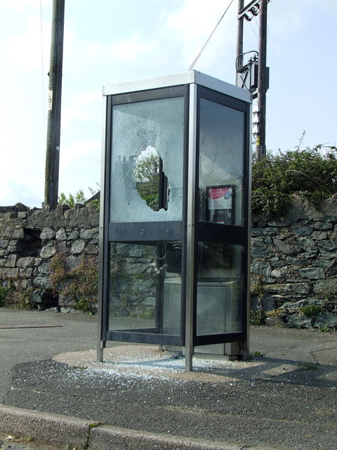 Vandalised phonebox