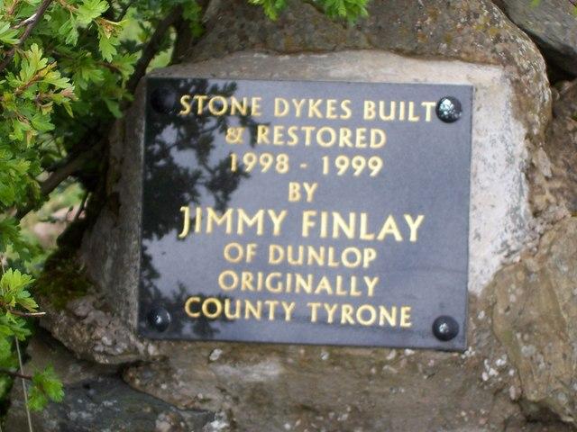 Plaque at Tailend of Craignaught Farm