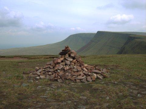 Summit cairn on the western summit of the Bannau Sir Gaer