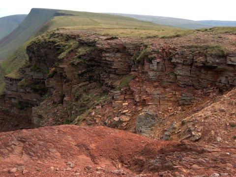 Strata near the top of the Bannau Sir Gaer cliffs