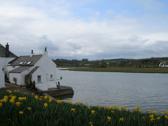 Kirkcudbright harbour at high tide