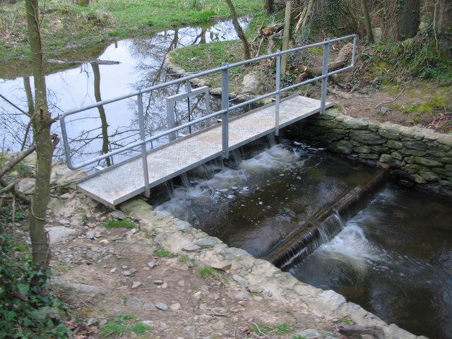 Footbridge and weir near Llynon Hall