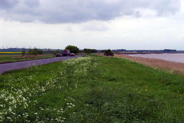 Looking West along the A1077