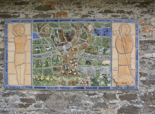 Ceramic plaque on the former school, Cartmell Fell