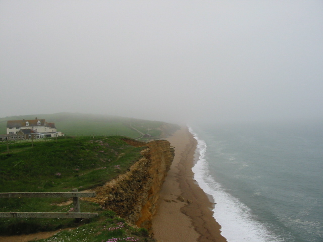 Hotel, cliff and beach, Burton Bradstock