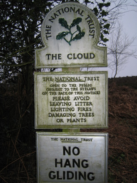 Sign on path up The Cloud near Congleton