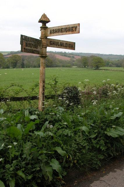 Old road sign at Hansford Barton