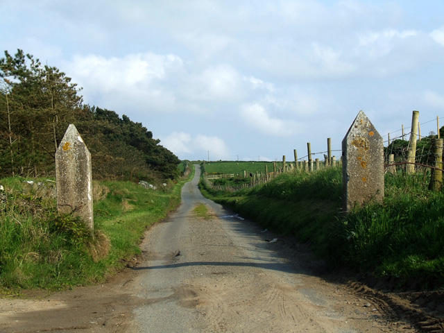 Stone posts either side of the road