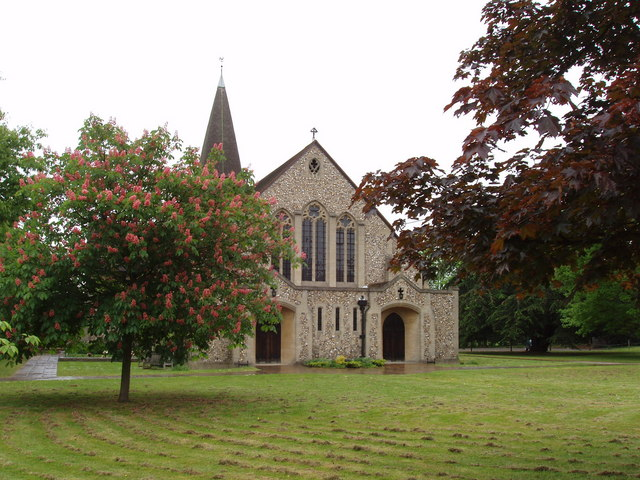 St John's, West Byfleet, with pink horse chestnut tree