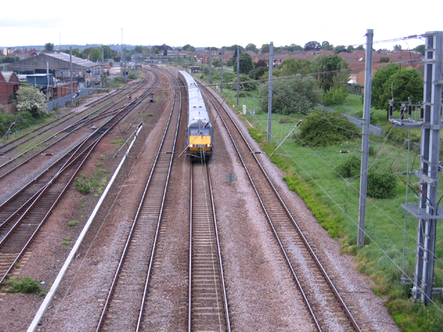 Express train south of Biggleswade station, Beds