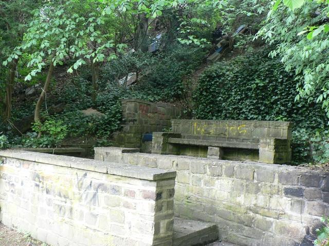Stone seat by the Goitside walk, Kirkstall, Leeds