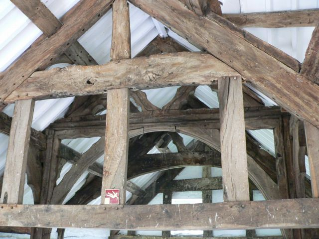 Interior detail of timbers at Penarth Fawr.