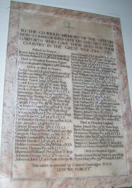 World War 1 Memorial at St. Mary's, Garforth