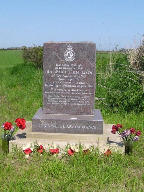 Memorial to the crew of Halifax 11 BB216 (LQ-D)