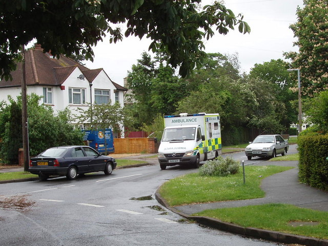 Grange Road, Woodham, with ambulance