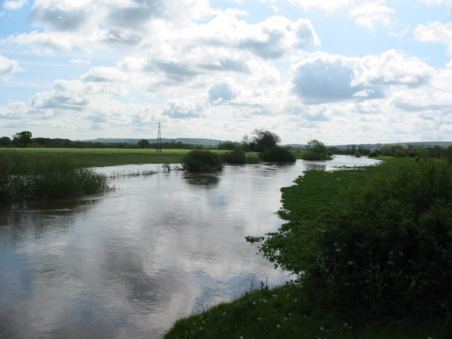 The River Rye in flood May 2006 from Howe Bridge (A169)