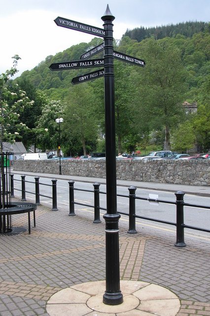 Waterfalls signpost, Betws-y-Coed
