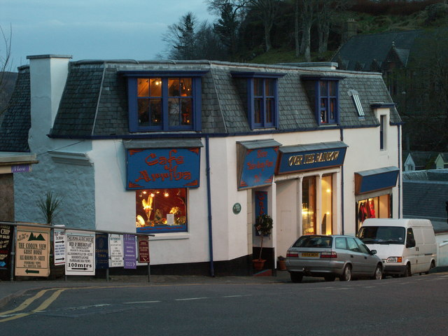 Cafe Arriba, Portree, in the evening