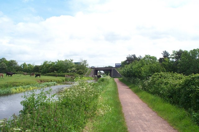 The Bridgwater  and Taunton Canal passes underneath the M5