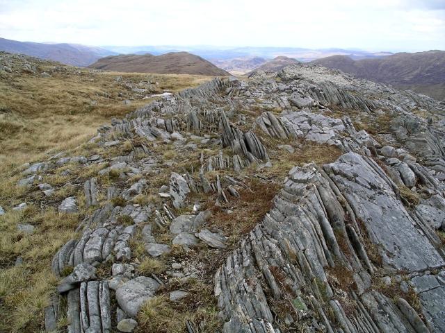 Vertical rock strata, Carn a' Choire Ghairbh