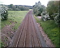 SJ5770 : Railway through the Cheshire countryside by Jo Lxix