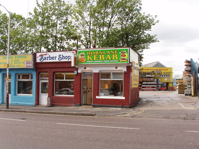 Barber shop and kebab takeaway, Horn Lane, North Acton