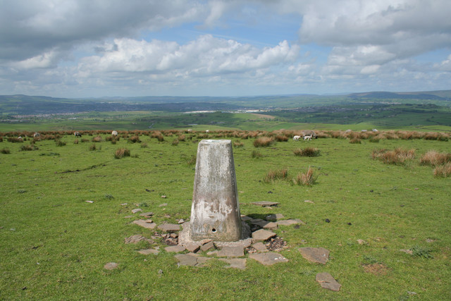Trig point, Delf Hill, Extwistle Moor